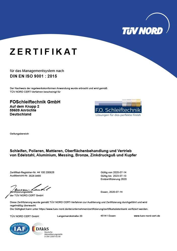 F.O. Schleiftechnik | Zertifikat | DIN EN ISO 9001 : 2015